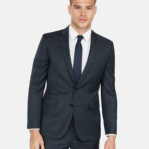 Express Slim Windowpane Plaid Wool-Blend Suit Jack